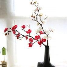 Сливы вишни искусственные шелковые цветы Флорес Сакура ветви дерева домашний стол Декор для гостиной DIY свадебное украшение