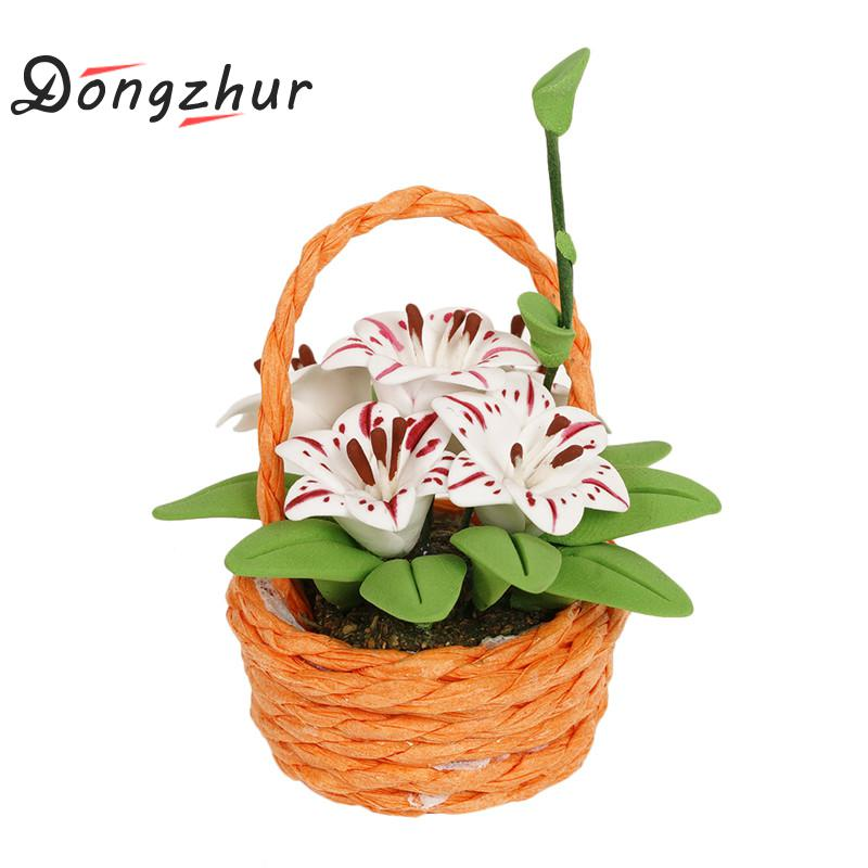 Dongzhur Cute Pink Carnation Flower Basket Miniature 1:12 Dollhouse Flower Toy Diy Doll House Garden Accessories Mini Model Clay Doll Houses