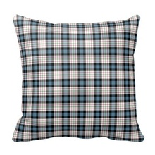 Curly Clan Ferguson Dress Blue Tartan Throw Cushion Cover (Size: 45x45cm) Free Shipping