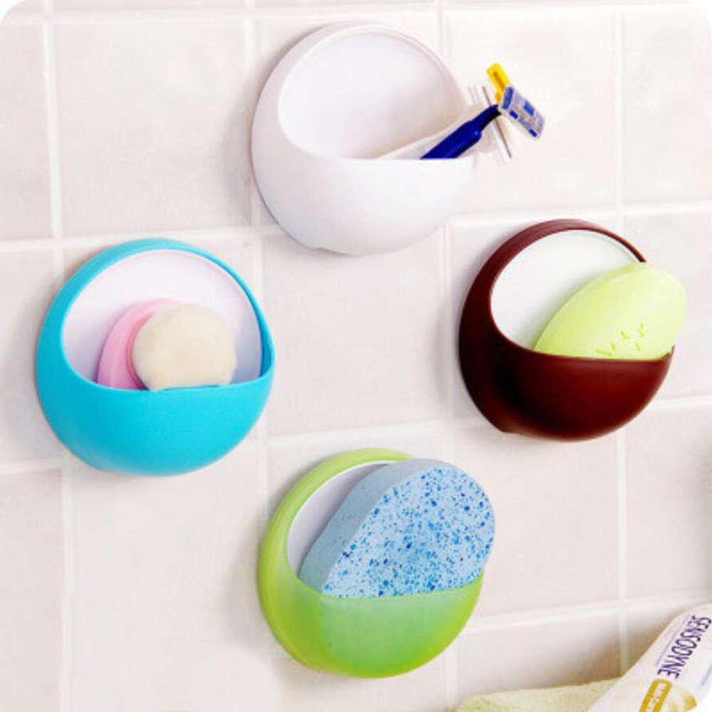 1PC Plastic Suction Soap Toothbrush Box Dish Holder Kitchen Shelf Sponge Rack Bathroom Shower Soap Holder Bath Basket 1055A thumbnail