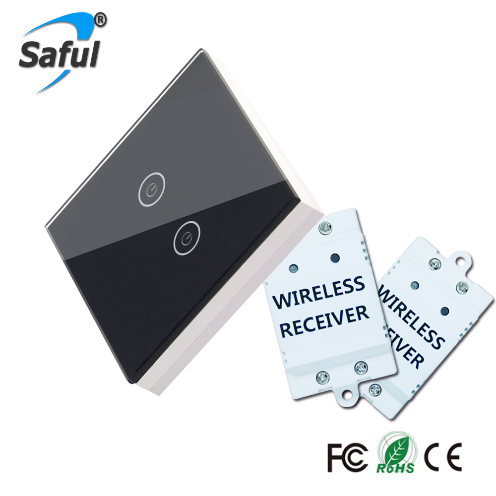Saful Wall Touch Switch 2 Gang 2 Way  Crystal Glass Remote Wireless  Touch Switch Screen For Smart Home Light remote wireless touch switch 1 gang 1 way crystal glass switch touch screen wall switch for smart home light free shipping