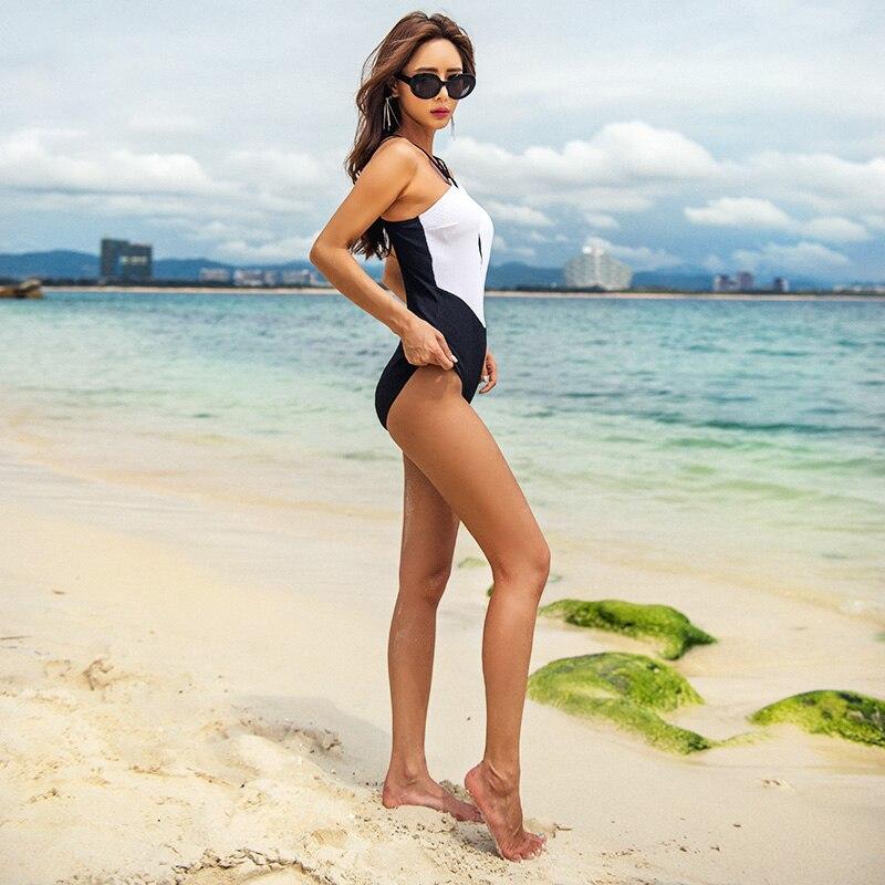 Высокое качество 2019 новый сексуальный лоскутное одеяло купальник пуш ап Sandy пляжный купальник Slim fit женские купальные костюмы - 2