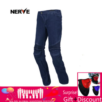NERVE Men's WOMEN'S Motorbike Motocross Off-Road Knee Protective Moto Jeans Trousers Windproof Motorcycle Racing Jeans Pants