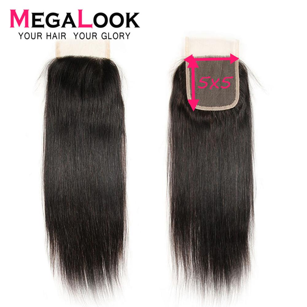 Straight Closure Human Hair 5x5 Lace Closure Malaysian Megalook Pre Plucked With Baby Hair Middle Part Remy Closure 6x6 7x7