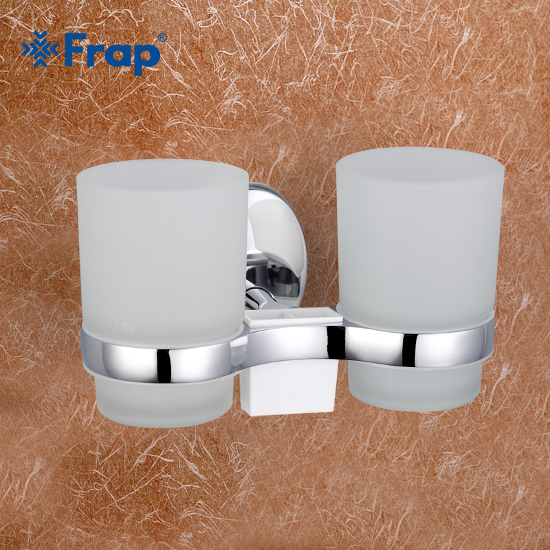 1 set High Quality Wall-mount Zinc alloy cup holder Glass cups Bathroom Accessories Double Toothbrush holder F1608 image