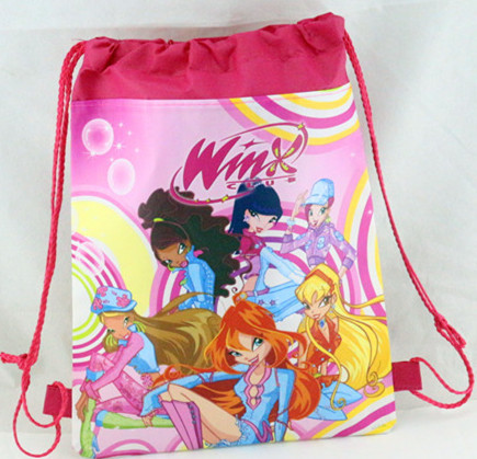 12pcs WINX Drawstring Backpack Non Woven Fabric Loot Bag Gift Kid Boy BirthdayTheme Party Supplies Decoration In Bags Wrapping From Home