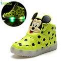 Niños mickey luces led glow máscara de impresión calzado para bebé prewalker shoes kids sneakers sports shoes