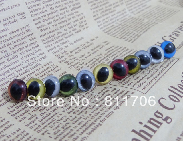 12mm DIY Safety Clear Plastic Mix Color Cat eyes shape Toy Eyes with washer