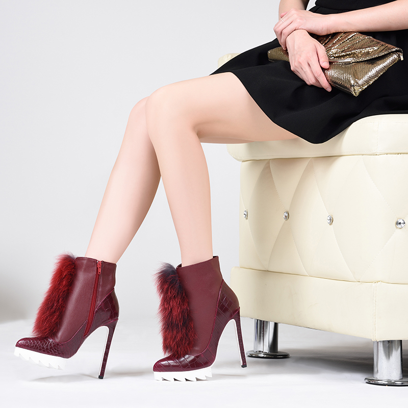 443ad169ea1 Brand Pink Palms high heels ankle boots for women winter snow boots with fox  fur thick platform plush women boots-in Ankle Boots from Shoes on ...