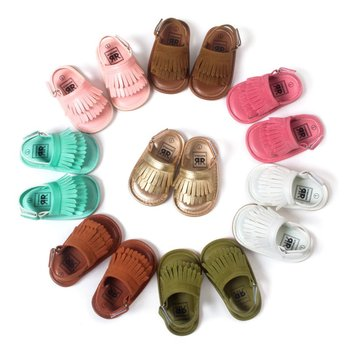 Summer Baby First Walkers Soft Bottom Fringe Candy Color Shoes Girls Baby Toddler Slippers Boys Prewalkers QF 1