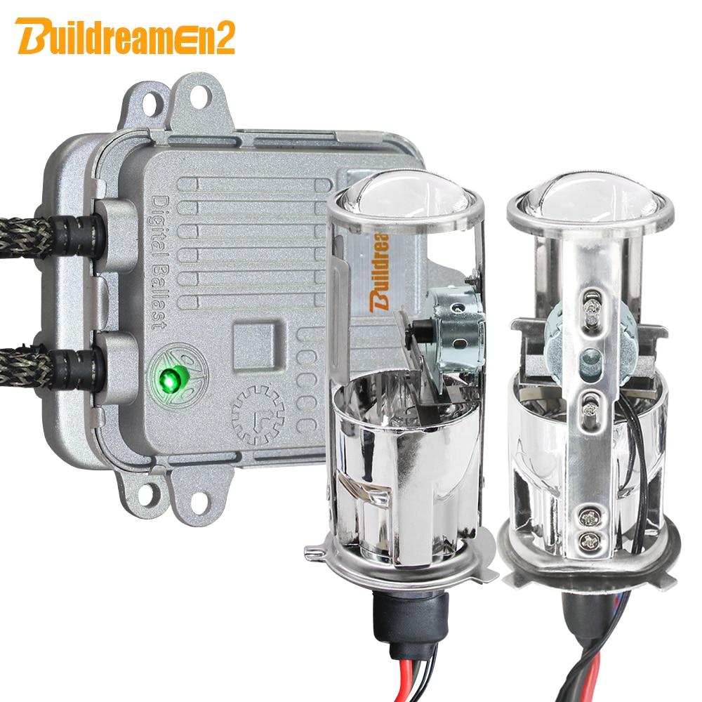 Buildreamen2 H4 Car Headlight 55W 10000LM Bi xenon HID Xenon Kit Mini Projector Lens AC Ballast