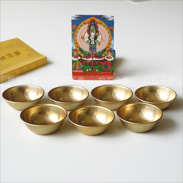 Copper Bowls,Disciples Of The Buddha To Supply Water Brass Cup,Mini Home Desk Decor