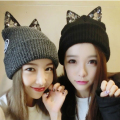 HT791 HOT Women Winter Hat Warm Knit Wool Cat Ear Beanie Knitted Hats Cute Winter Beanies Elastic Casual Ski Beanie Hip Hop Cap