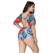 Купить с кэшбэком Sexy Women Swimwear Plus Size Push Up Floral Printed Flying Sleeve Bikini Beautiful Back Large Size One Piece Swimsuit XL-5XL