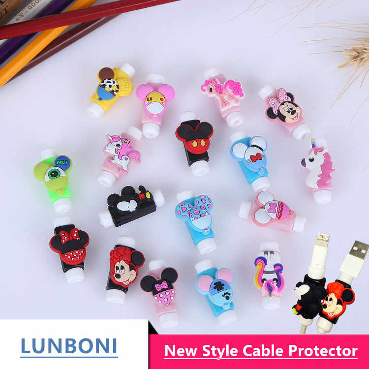 10pcs/lot Mickey Mouse  Anti-fracture Cartoon USB cable Protector Cable Winder  cable Data Line Protection for Iphone Android