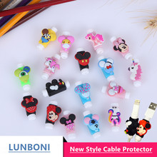 10pcs/lot Mickey Mouse  Anti-fracture Cartoon USB cable Protector Cable Winder Data Line Protection for Iphone Android