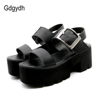 Gdgydh Summer Women Sandals Adult Fashion Leisure Black Square Heels Female Platform Shoes High Heels Hand