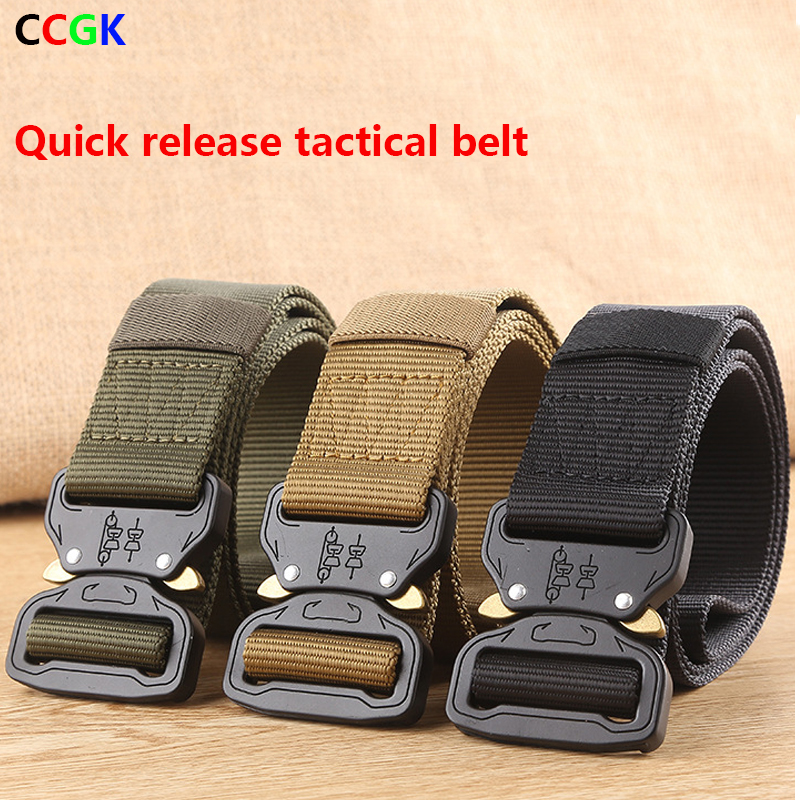 2017WAT Combat Heavy Duty Knock Off Tactical Belt Men US Soldier Military Equipment Army Belts Sturdy Hook Nylon Waistband 3.8cm