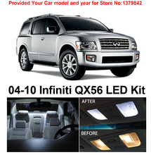 Free Shipping 11Pcs/Lot car-styling Xenon White Package Kit LED Interior Lights For Infiniti QX56 2004-2010