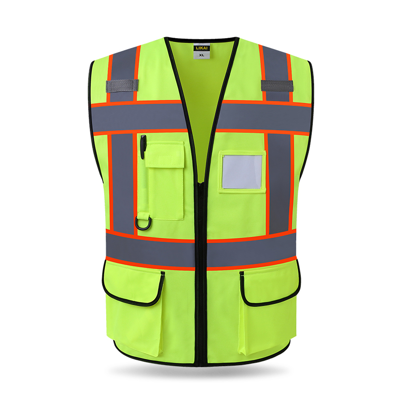 Reflective Motorcycle Vest Zipper Front Fluorescent Orange Yellow Meets ANSI/ISEA 107-2010 Class 2 цена и фото