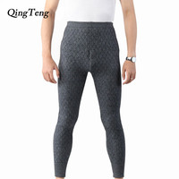 QingTeng Winter Thermal Underwear Warm Pants Male Supper Thick Mens Leggings Cashmere Merino Wool Long Johns Knitted Trousers