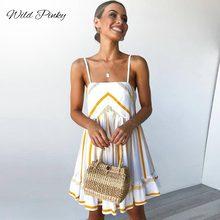 WildPinky New Vintage Striped Women Dreeses Summer Dress Spaghetti Strap Ruffle Mini Sundress Sexy Female Elegant Vestidos