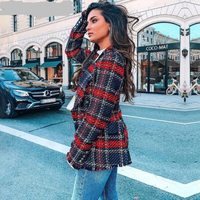 2018 women Turndown collar tassel casual autumn blazer mujer Fashion christmas female blazer coat Plaid tweed wool blazer