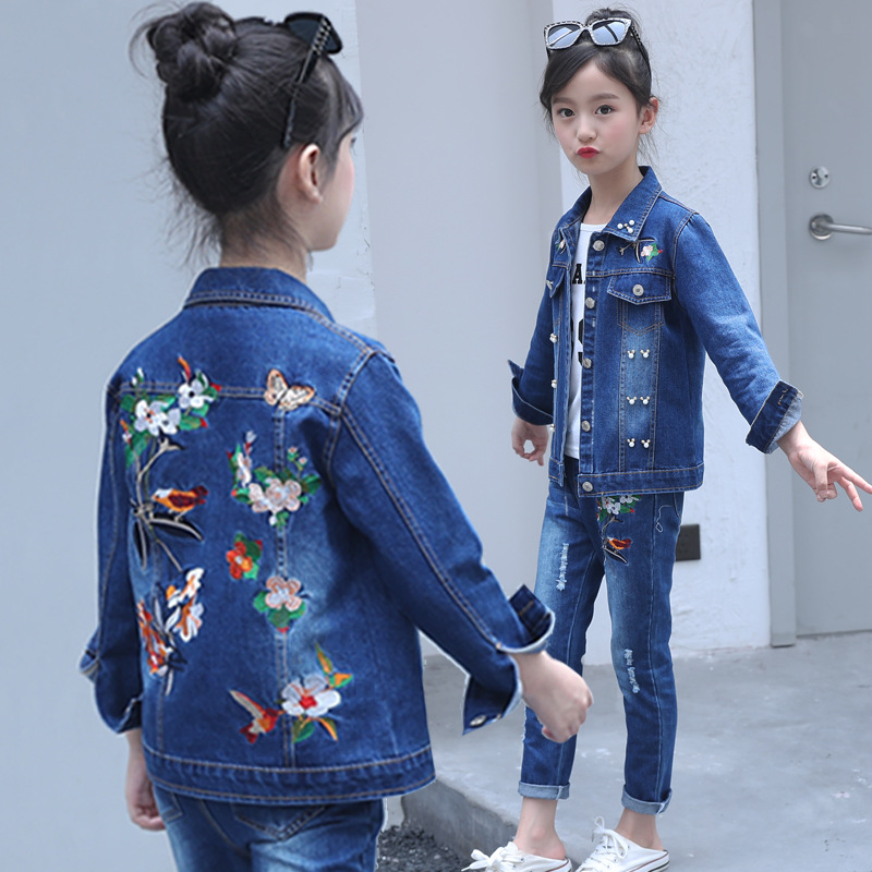 Toddler Girls Clothes Size 10 Boutique Coat + T-shirt + Jeans Pants Age 6 8 10 12 Years Old Autumn Children Clothing Girls Sets children sport suits teenage girls clothing sets spring autumn kids jacket t shirt pants 3pcs girls clothes 4 6 8 10 12 13 years