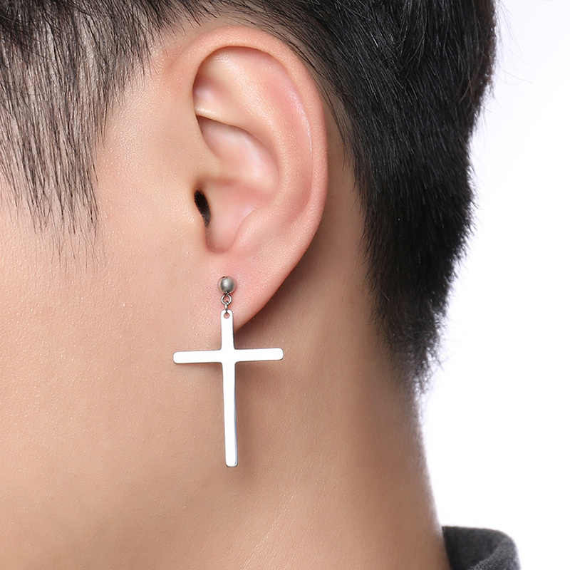 Detail Feedback Questions About Men S Large Cross Cartilage Ear Stud