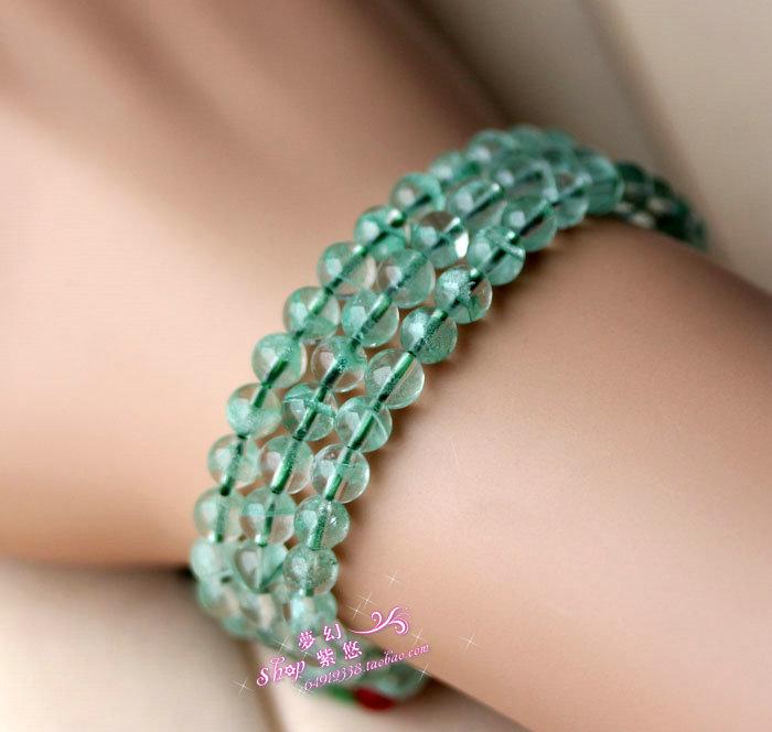 Fantôme vert naturel bracelet 108 perles bracelet grenat tourmaline