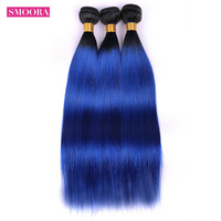 Smoora Pre Colored 2 Tone Blue Brazilian Straight Hair Ombre 3 Bundle Deals T1B/Blue Dark Roots Human Hair Extensions Weave