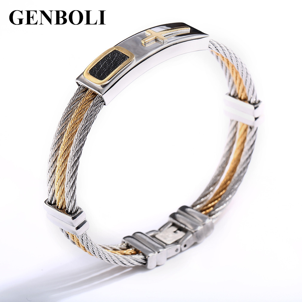 Creative Men 3 Row Wire Chain Bracelet Casual Men Stainless Steel Cross Bracelet Best Gifts fashion Jewelry Bracelets & bangles