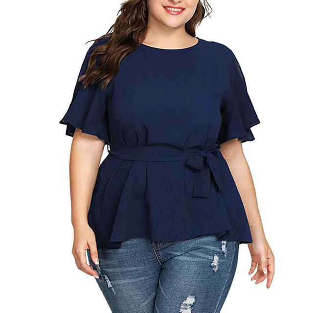 Plus Size Blouse Women's Solid Short Sleeve Shirt Solid Color Belted Knot Blouse Tops Women Casual Loose Shirt Chemise Femme /PT 5