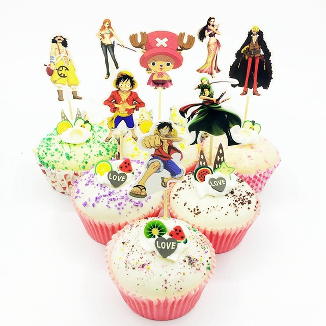 24pcs Cartoon Anime One Piece Pirate King Theme Cupcake Topper Pick