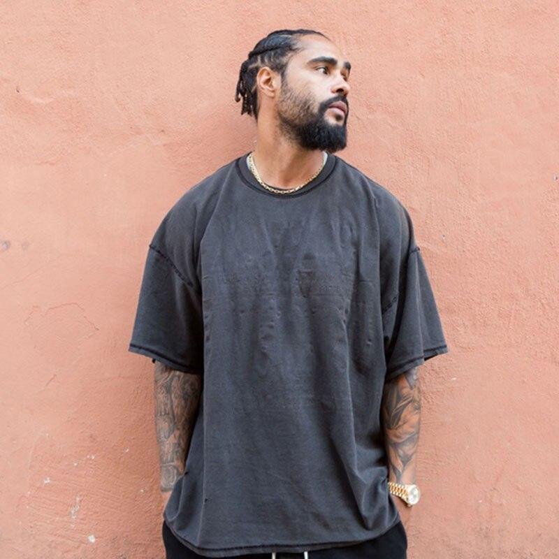 KANYE Vintage Black Oversized   T  -  Shirt   Men hip hop Fear Of God Heavy Washed   T     Shirts   For Men O Neck Top Tees Male Short Sleeve