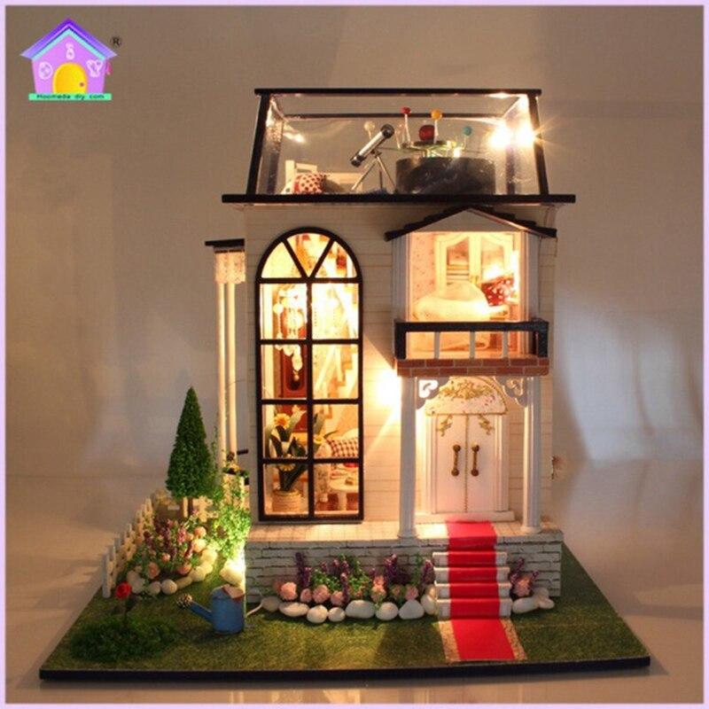 Новый hoomeda 13837 Handmake DIY кукольный домик Миниатюрная модель с легкой музыки Двигатель кукла номер дома Best подарок