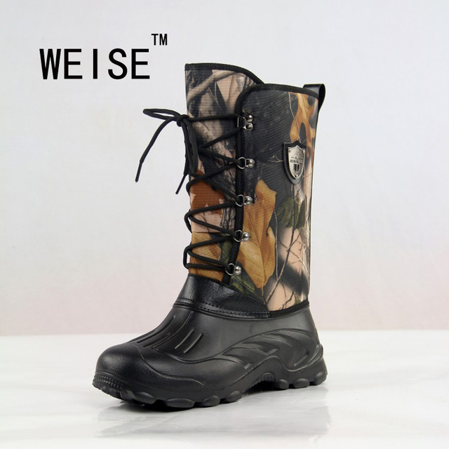 2016  New Men Outdoor Platform Waterproof Camouflage Snow Boots Fishing Shoes Men  Boots  Military Boots Large Size 41-46