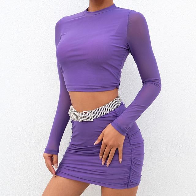 b8d9b755e Sexy malla transparente mujeres 2 piezas conjunto alta calle Crop Top y  cintura Bodycon falda traje Delgado liso Clubwear