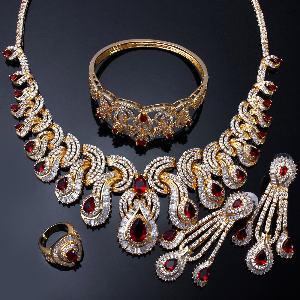 Ensembles de bijoux de mariée de luxe pour femmes avec zircon cubique 4 pièces (collier + bracelet + boucles d'oreilles + anneau) livraison gratuite - 2