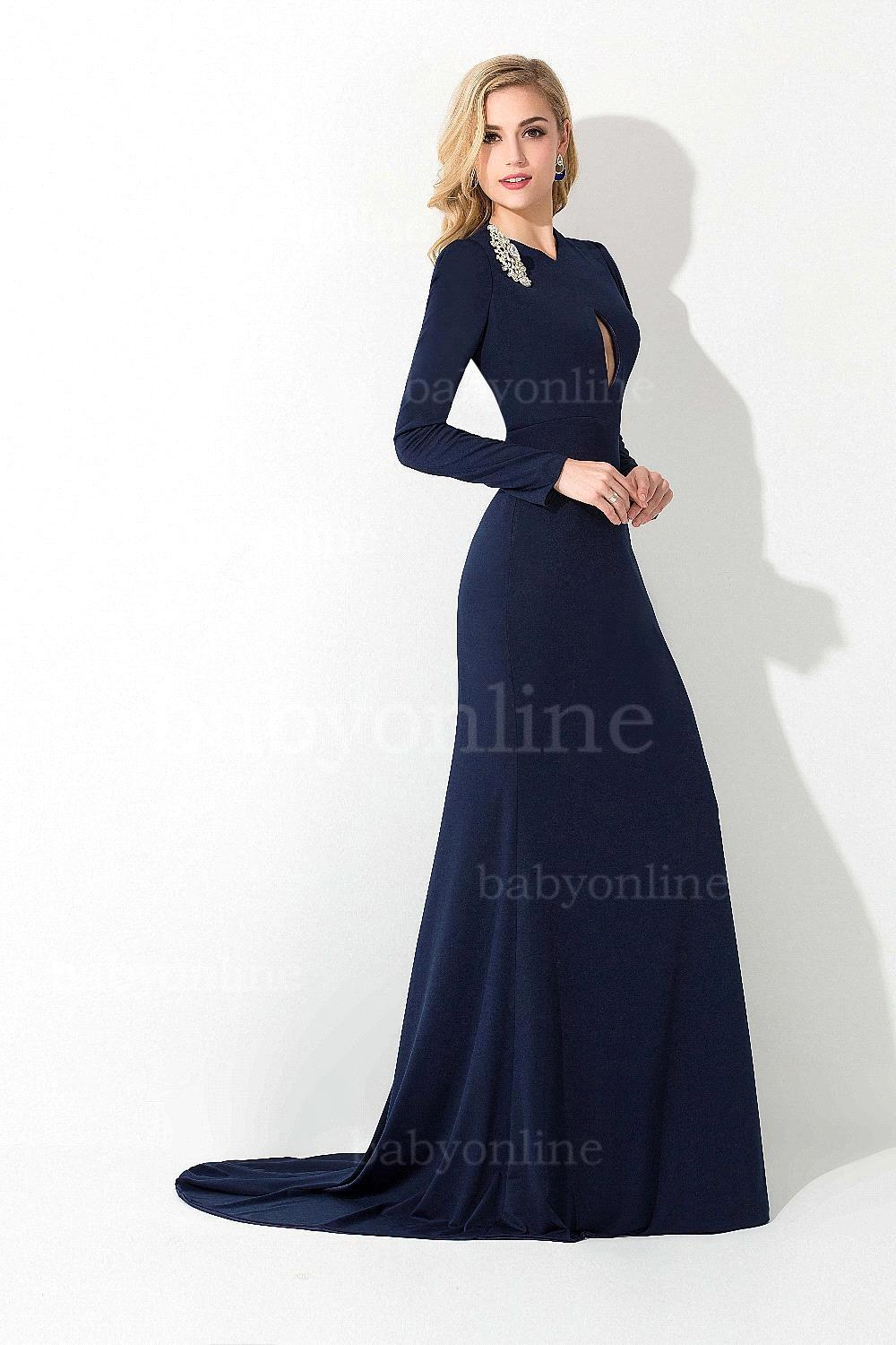 Robe De Soiree 2015 New Arrival Navy Blue Formal Evening Gowns Long ...