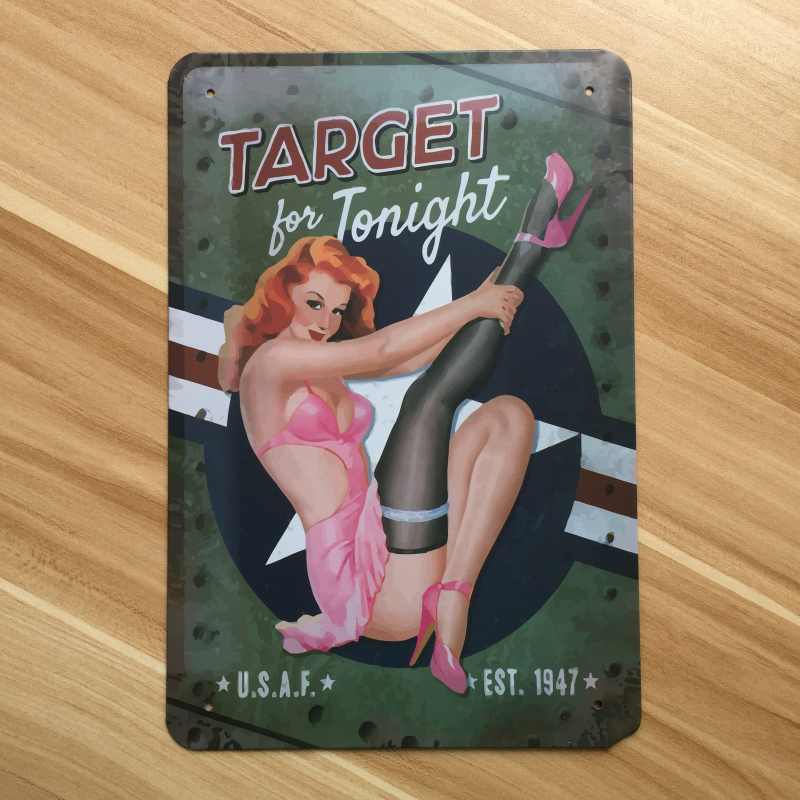 Top fashion RZXD-535 Vintage painting TARGET Tonight Tin signs poster Art home decor House Cafe Bar metal wall art 20x30 CM ...