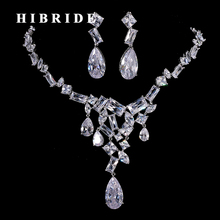 HIBRIDE Hot Sale Clear Crystal CZ Stone Wedding Bridal Jewelry Set With Necklace Earrings Set Wedding Dress Accessories N-199