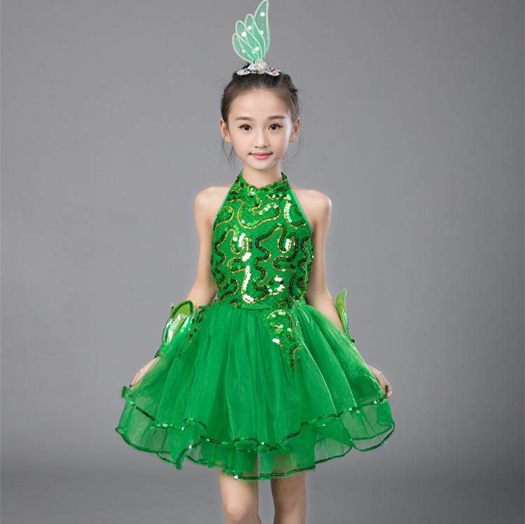 Green Girls Ballet Dress For Children Girl Jazz Dance Costumes For Girls Dance Dress Girl Performance Costume  Stage Dancewear