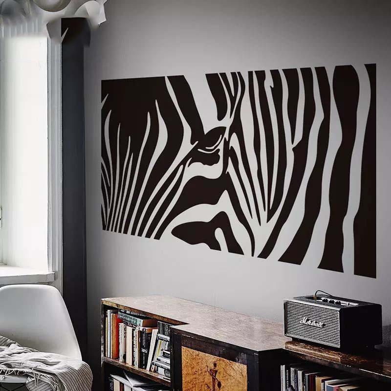 US $15.99 |Creative Zebra Wall Sticker Medium Large Black and White Home  Decor Bedroom Living Room Background Waterproof Wall Sticker-in Wall  Stickers ...