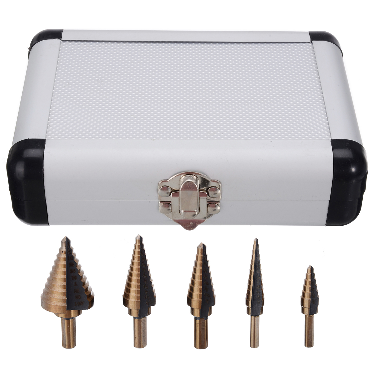 5pcs/kit New HSS Step Titanium Cone Drill Hole Cutter Bit Multiple Hole 50 Sizes Step Drill Bit with Aluminum Case High Quality