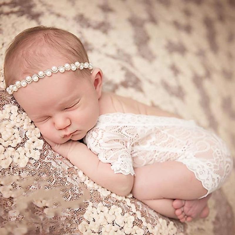 Sparkling Pearls Baby Head Band Princess Rhinestones Baby Girls Headbands Elastic Hairbands Newborn Photography Props