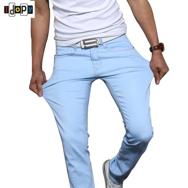 29487127b7 Nuevos pantalones vaqueros ajustados de color caramelo para hombre  elásticos cinco bolsillos moda clásica pantalones vaqueros