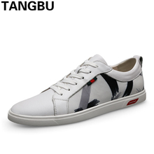 Italian Design Genuine Leather Men Skateboarding Shoes Lace Up Breathable Casual Sneakers Fashion Men Flat Shoes Plus Size 37-45
