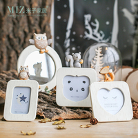 Miz Home 3 Pieces Photo Frame Animal Picture Frame Cute Mirror Frame for Kids Birthday Gift Home Decoration