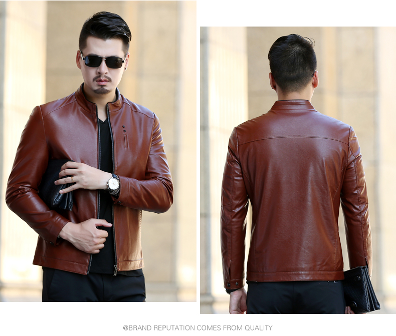 Fashion Mens Suit Leather Jacket Spring And Autumn New Short Paragraph Suit Collar Jacket Leather Jacket Mens Suit Jacket
